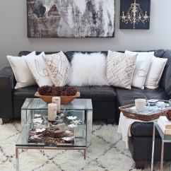 Small Sectional Sofa West Elm Sofas Low Price Rustic Glam Living Room + New Rug - Setting For Four