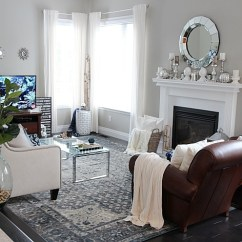Grey Rug Living Room Cheap Accent Chairs For New Indigo Blue Rugs In Our And Kitchen Setting Four Look See How Adding This Area Gave