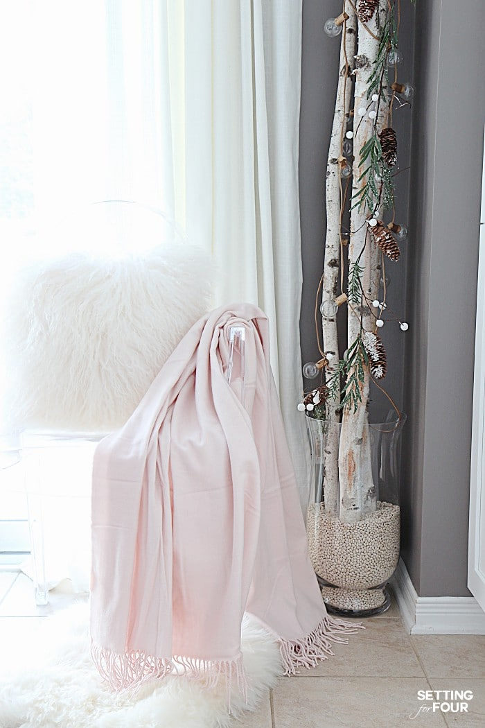 10 Minute Winter Decorating with Birch Poles  Setting for