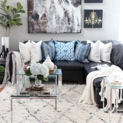 Black And Gray Living Room Decorating Ideas Elegant Set With Indigo Blue Shades Of Summer Home Tour Family
