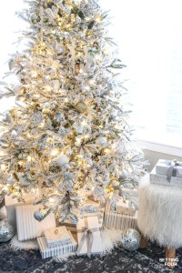 Flocked Christmas Tree - White and Gold Glam Style ...