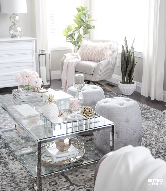 Blush Pink And Blue House Tour Setting For Four