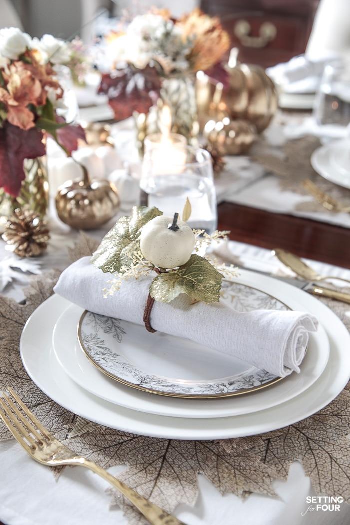 elegant white gold thanksgiving table