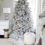 Silver Gold Flocked Christmas Tree Decorations Setting For Four