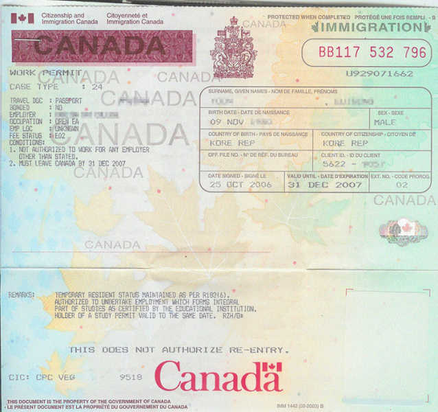 Canada Visa application Canadian work permit photo requirements