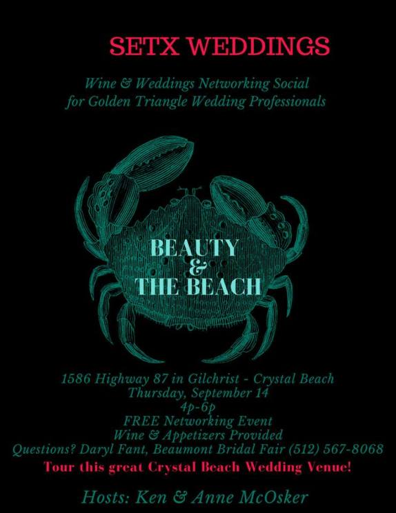 wine and weddings crystal beach, networking event crystal beach, networking event port arthur, networking event beaumont tx, networking event winnie tx