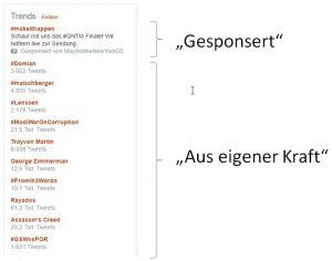 Screenshot: Twittertrends in der PC-Anwendung mit Unterscheidung