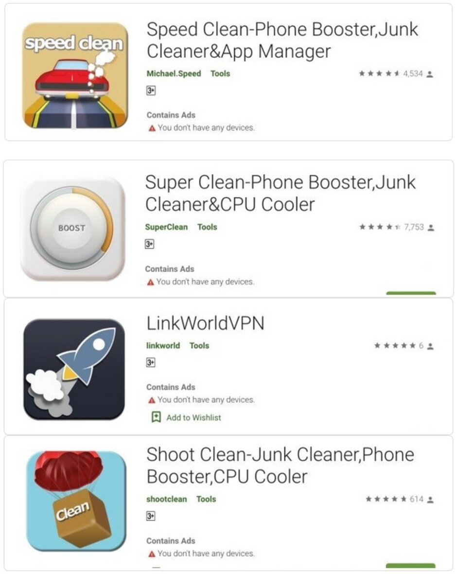 Some of the malicious apps that delivered malware to infected Android phones - Delete these malicious Android apps now before they log-in to your Facebook account