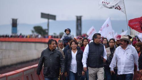 Arranca Delfina Gómez caminata contra fraude electoral en Edomex