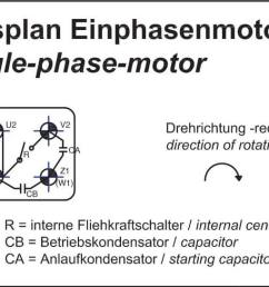 single phase motors are suitable for both directions of rotation see connection diagram anschlu plan wechselstrommotor [ 1594 x 545 Pixel ]