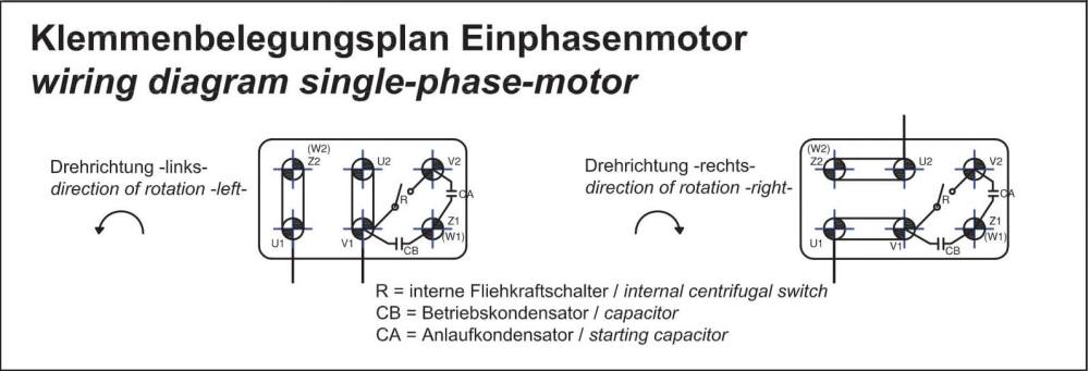 medium resolution of single phase motors are suitable for both directions of rotation see connection diagram anschlu plan wechselstrommotor