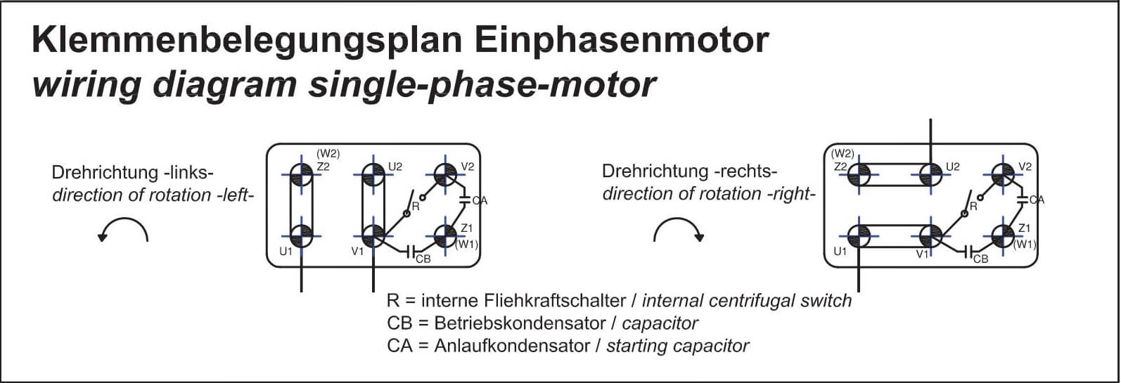 hight resolution of single phase motors are suitable for both directions of rotation see connection diagram anschlu plan wechselstrommotor