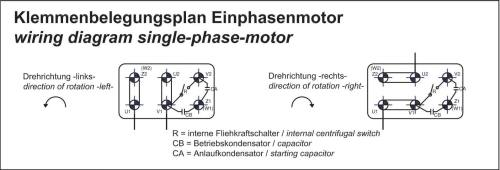 small resolution of single phase motors are suitable for both directions of rotation see connection diagram anschlu plan wechselstrommotor