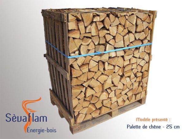 Bois bûche sur palette quartier d'hiver G1 chêne 25 cm | Sevaflam - Bois de chauffage sur palette