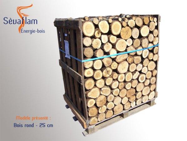 Bois rond nuit d'hiver palette -25 cm | Sèvaflam - Bois de chauffage sur palette