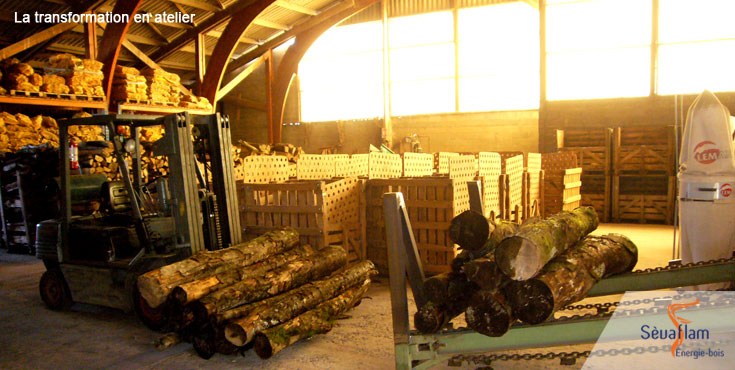 Transformation du bois de chauffage en atelier   Sèvaflam - Bois de chauffage sur palette