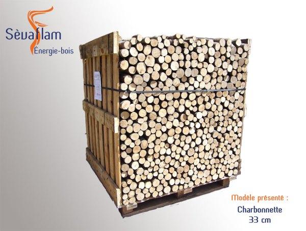 Charbonnette 33 cm palette 1,5 stères | Sèvaflam - Bois de chauffage sur palette