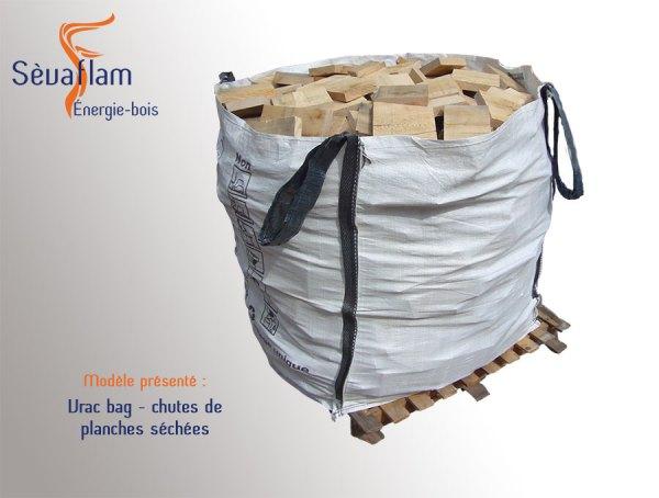 Vrac bag chutes planches séchées ébénisterie 1m3 | Sèvaflam - Bois de chauffage sur palette