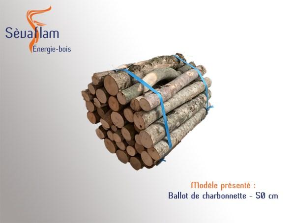 Charbonnette 50 cm en ballot - 35 kg | Sèvaflam - Bois de chauffage sur palette