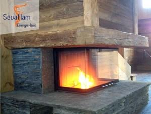 Fronton de cheminée - Poutre Chêne massif - Bois d'ébénisterie - menuiserie - construction - Sèvaflam Énergie bois
