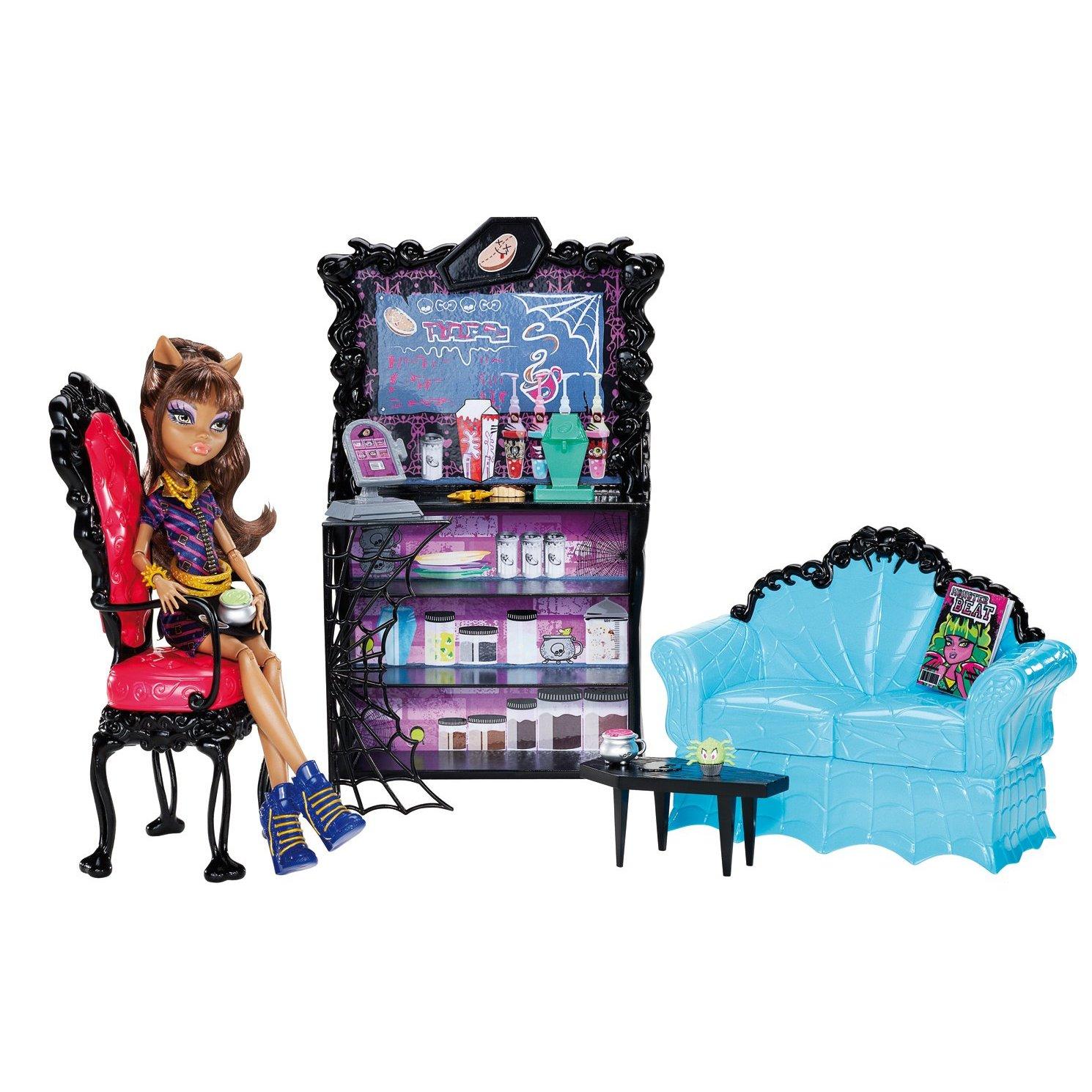 monster high bean bag chair rolling desk on carpet clawdeen wolf coffin play set