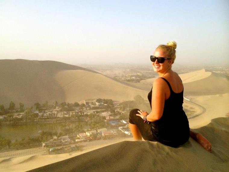 Looking out over Huacachina, Peru