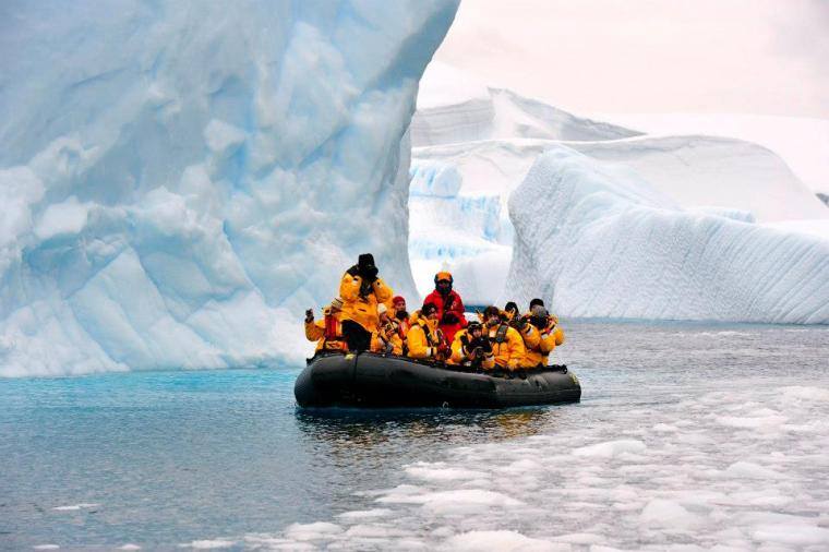 Going through Icebergs on the Zodiac in Antarctica