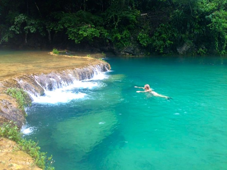 Swimming in the waters of Semuc Champey