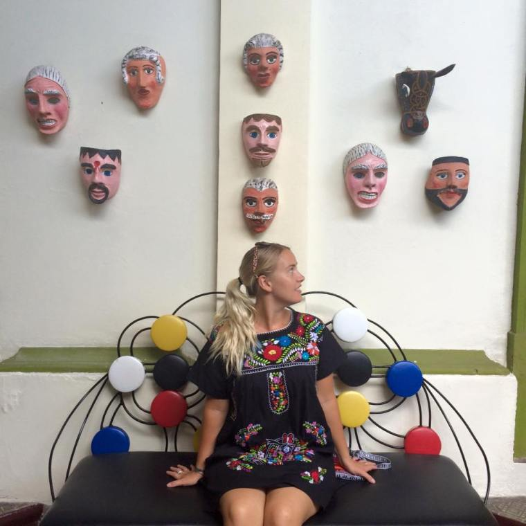 wall of masks at the choco museo, Granada, Nicaragua. By Seven Continents Sasha