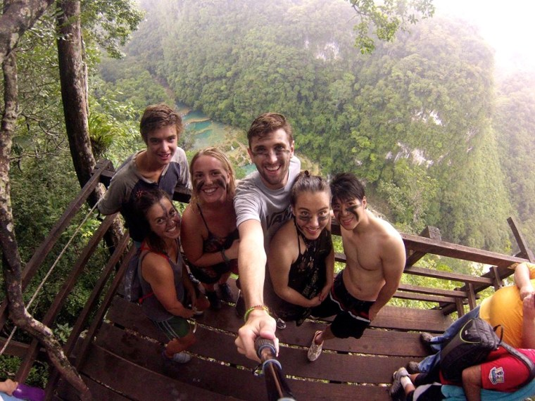 Our group at the top of El Mirador hike, overlooking Semuc Champey
