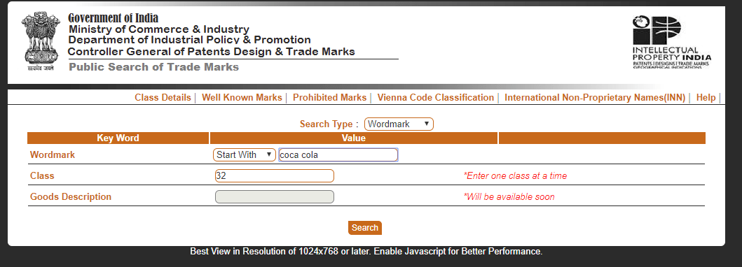 Trademark Public Search India example