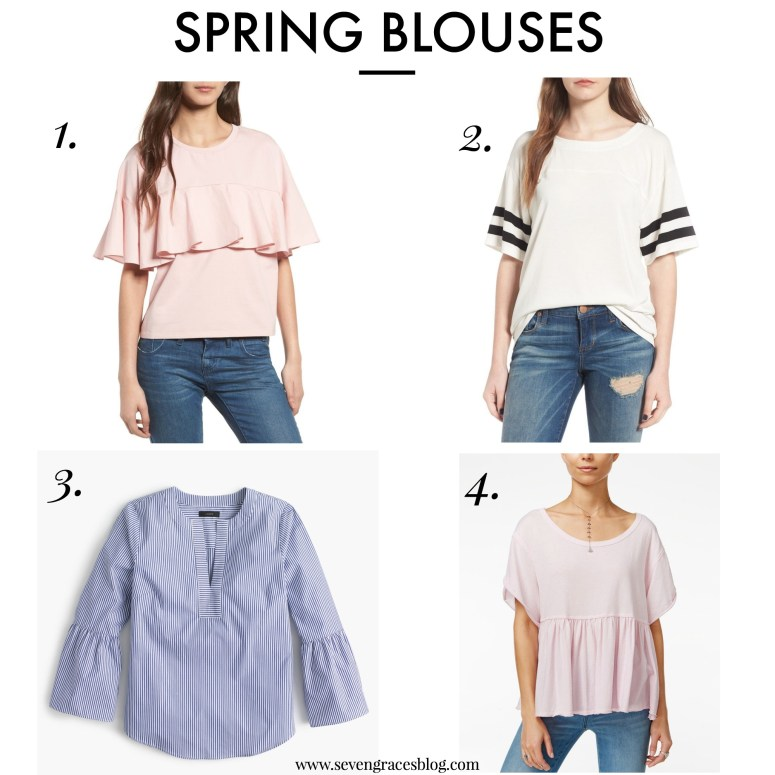 Fun & classic spring blouses to spruce up your wardrobe. Great, comfortable tees and shirts to help you look polished.