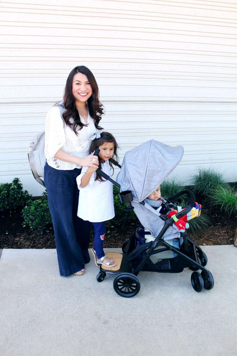 The cutest stroller for two kids. The Evenflo Sibby Travel System is a great buy at under $200 for your toddler and baby. The perks are incredible! Read the full review on Seven Graces. #ad #evenflospringbreak #generationevenflo