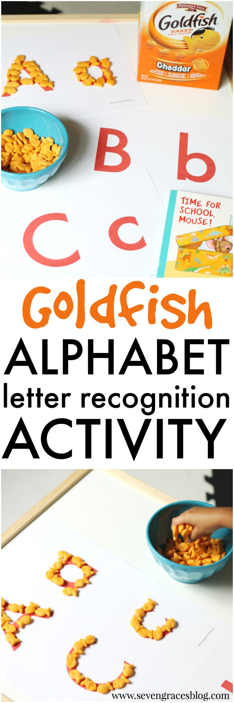 The best letter recognition activity for your preschooler using Goldfish crackers! This is a must try, and it includes a free printable of the alphabets. This free alphabet printable + great preschool activity is a winner.