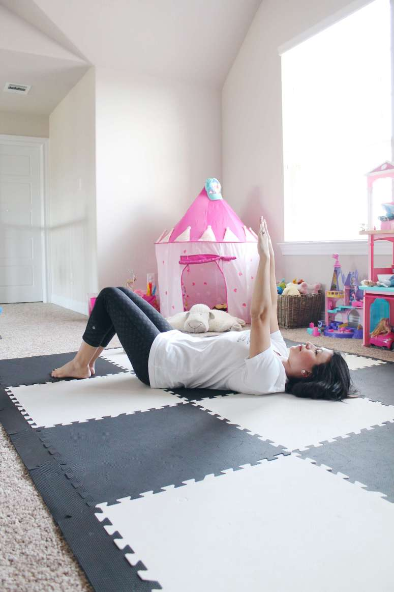 The best core workout for the mommy pooch. A great at-home workout series and program by Natalie Hodson and Dr. Middlekauff to get your abs back in shape!