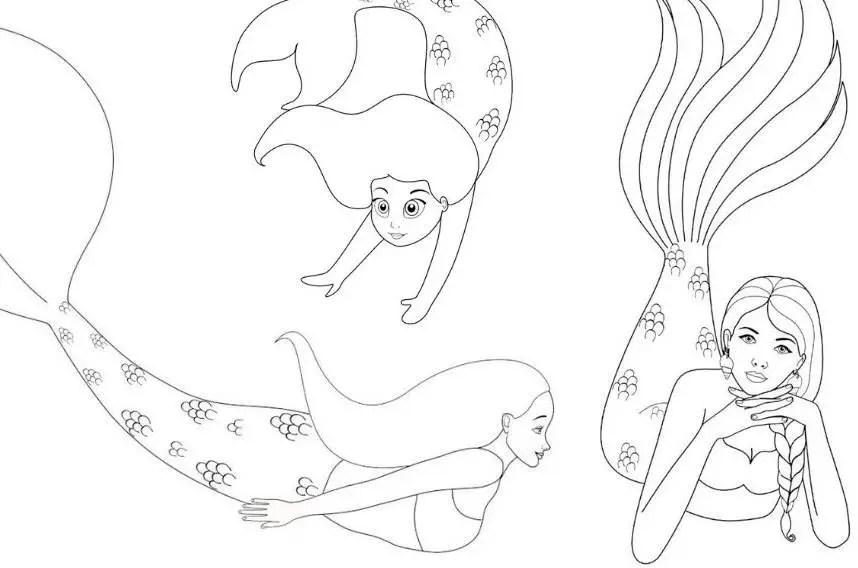 wallpapers Free Mermaid Coloring Pages mermaid coloring pages free download