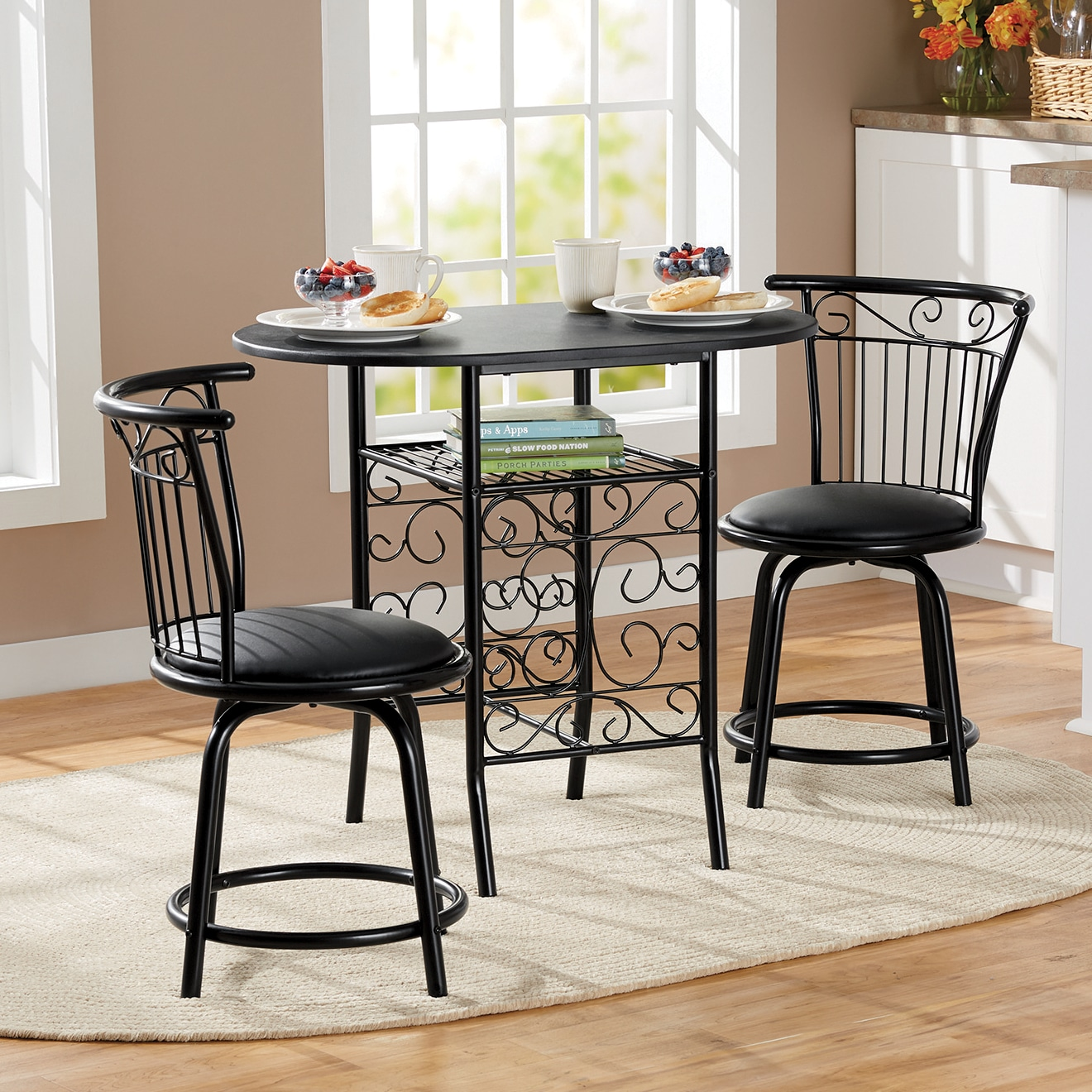 bistro chairs dining room stackable wicker sets 3 pc seventh avenue cara set