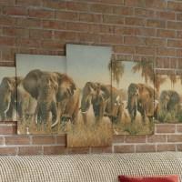 5-Piece Elephant Canvas Wall Art | Seventh Avenue