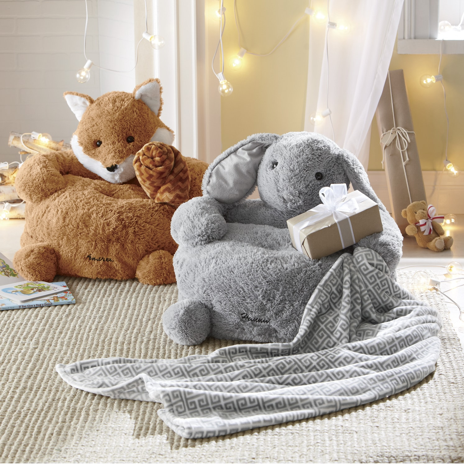 stuffed animal chair christmas covers singapore personalized plush with blanket seventh avenue