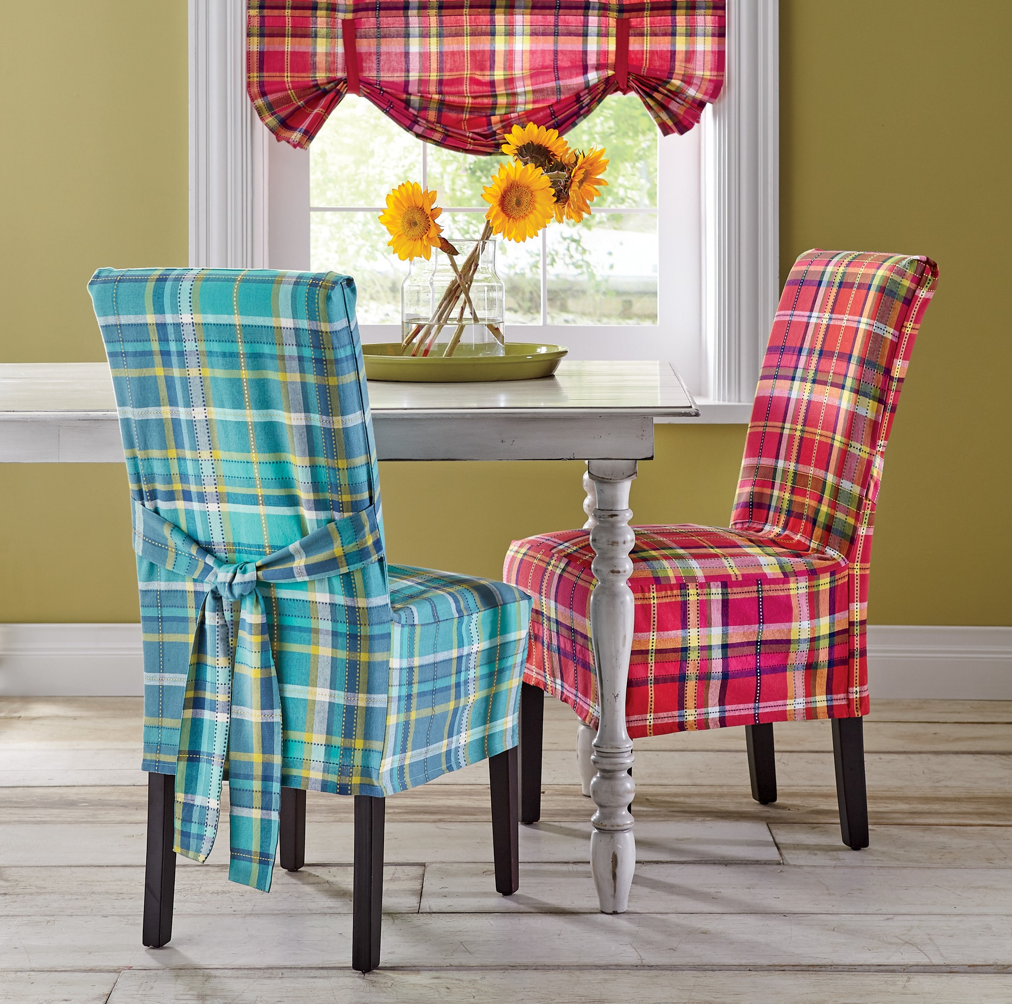 tartan dining chair covers for sale genuine leather chairs slipcovers sofa seventh avenue madras cover