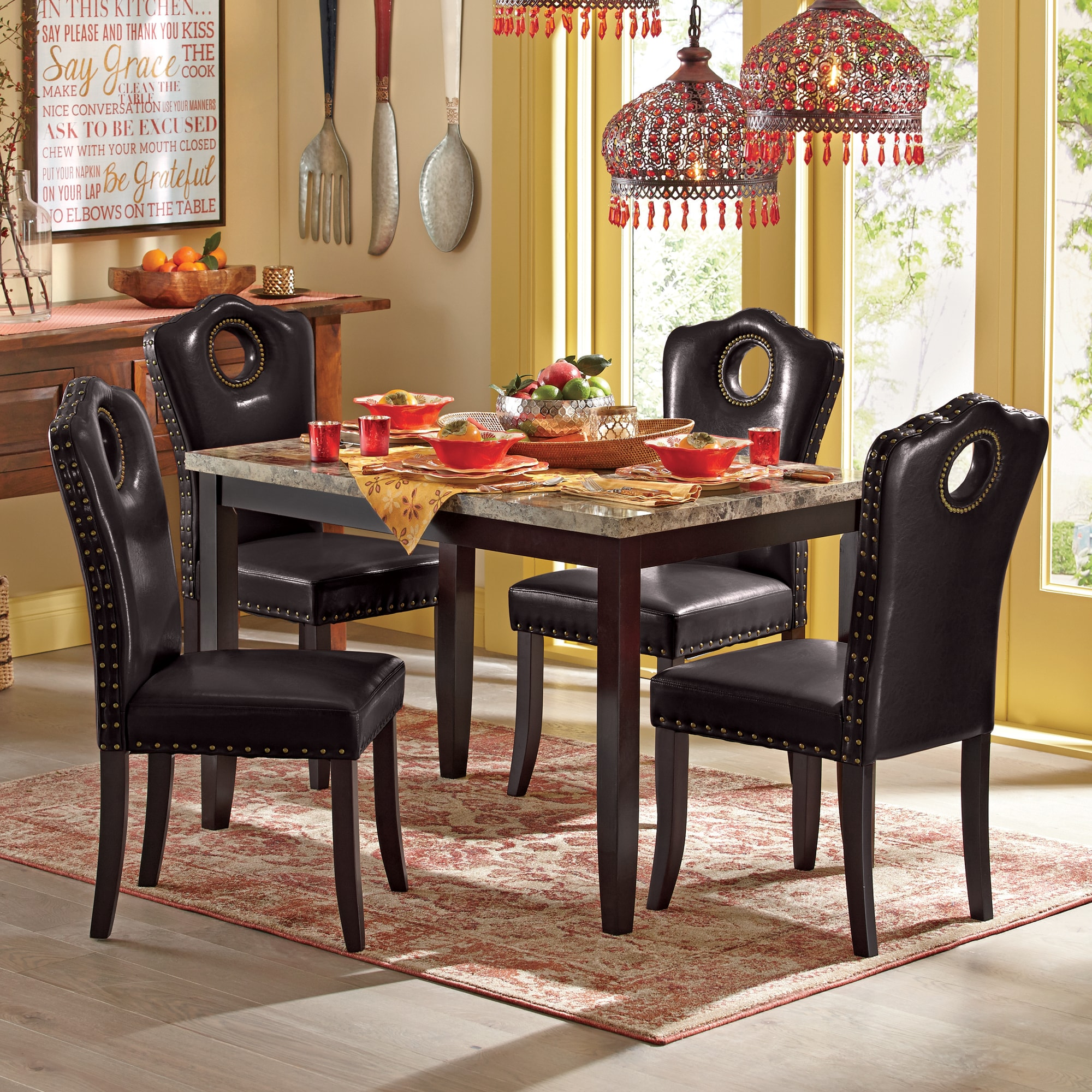 make kitchen table outdoor sets marble look dining and nailhead chairs seventh avenue large