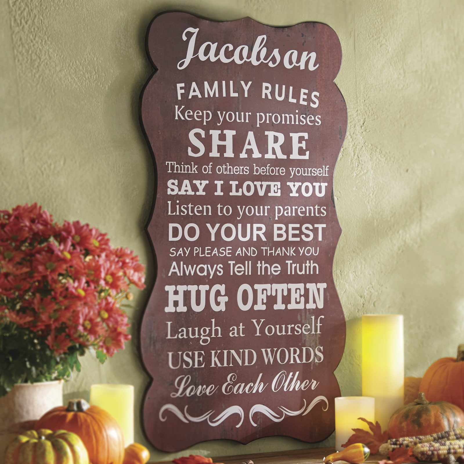 personalized family rules plaque