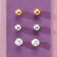 3-Pair Gold Post Earring Set | Seventh Avenue