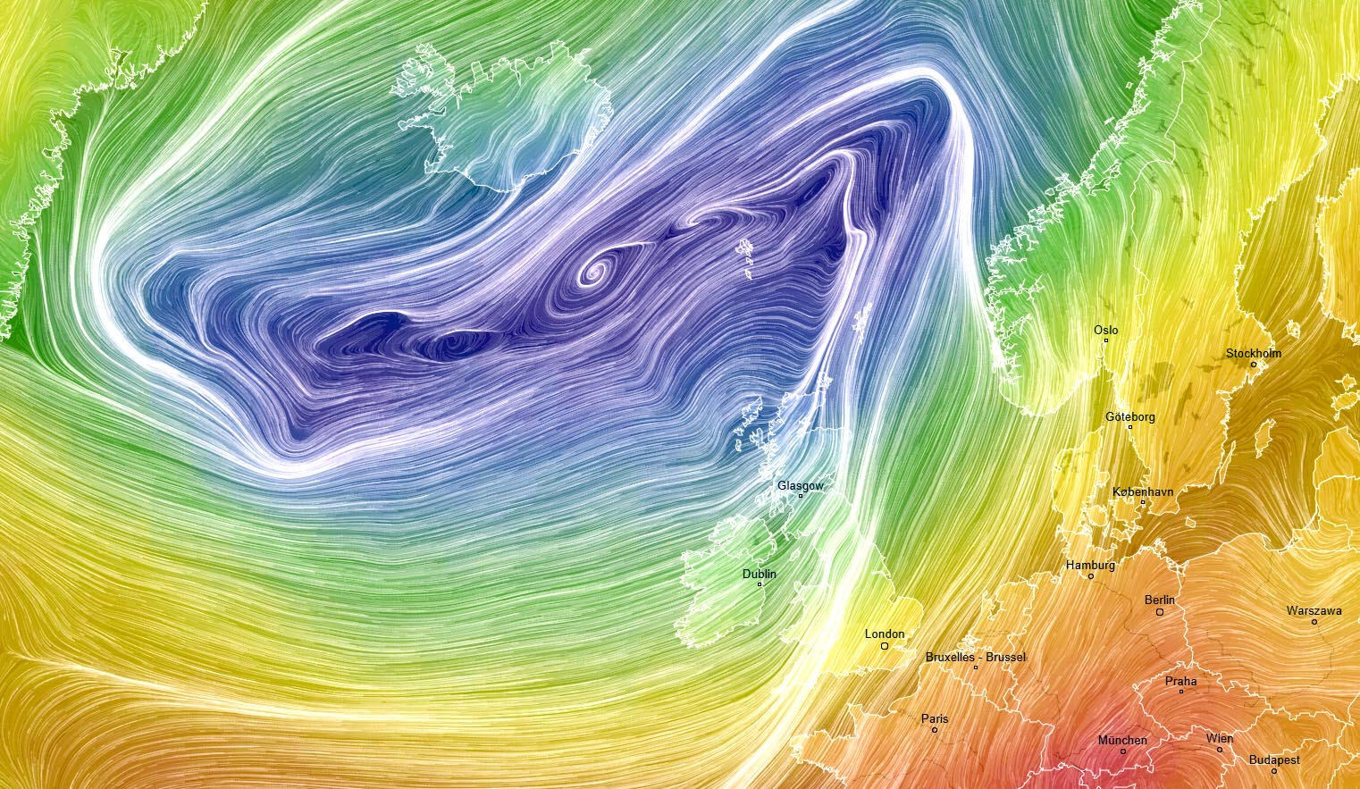 A Large Low Pressure System Is Dominating North Atlantic