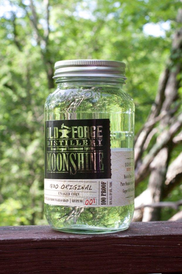 A jar of Old Forge Distillery's 1830 Original Moonshine.