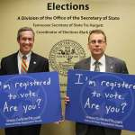 Secretary of State Tre Hargett and Election Coordinator Mark Goins