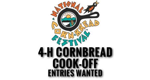 4-H Club members are invited to enter an original cornbread recipe for the 2015 4-H Cornbread Cook-Off at the National Cornbread Festival