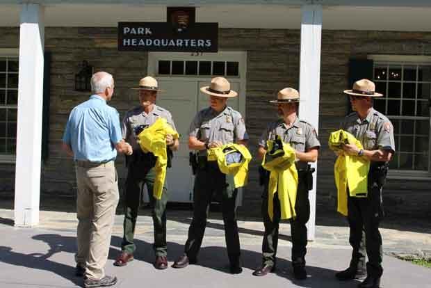 Left to Right:  Eric Keller LTC (Ret), Ranger Marc Eckert, Ranger Christopher Tedder, Ranger Will Jaynes, Brad Griest