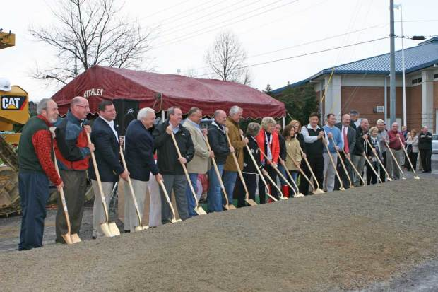 Local officials join in the groundbreaking of the new Boys and Girls Club in Pigeon Forge.