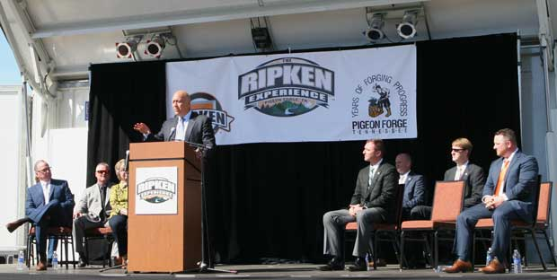 Cal Ripken, Jr. addresses a crowd at the opening of The Ripken Experience Pigeon Forge.